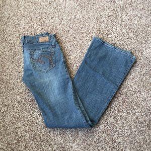 Sexy Hydraulic Flare Leg Jeans Size 3/4